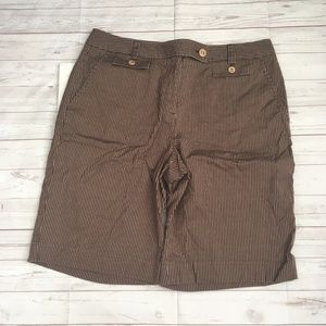 talbots womens 12 brown striped bermuda shorts ver